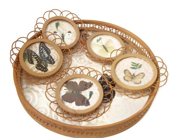 Vintage Bamboo Serving Tray with coasters - Butterflies - Vintage Tray