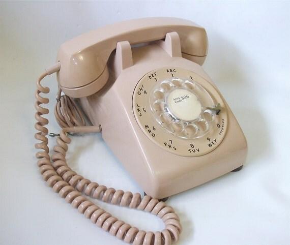 Vintage Rotary Dial Telephone, Vintage Phone, Tan Colour, Retro Home Decor