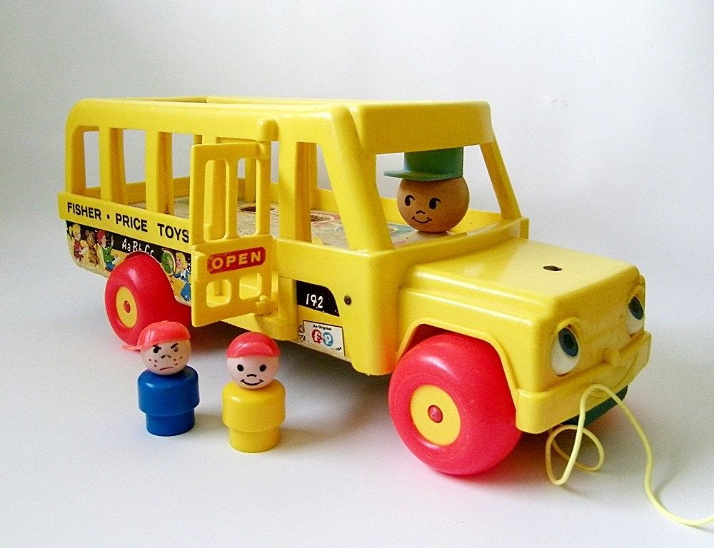 vintage fisher price wood school bus little people. Black Bedroom Furniture Sets. Home Design Ideas