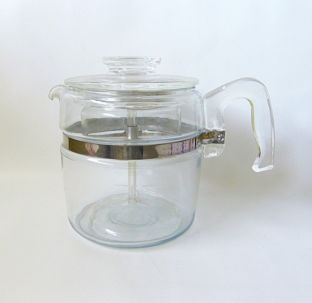 Pyrex Coffee Maker How To Use : Vintage Pyrex Coffee Pot Blue Flameware 6 cups by RetroClassics