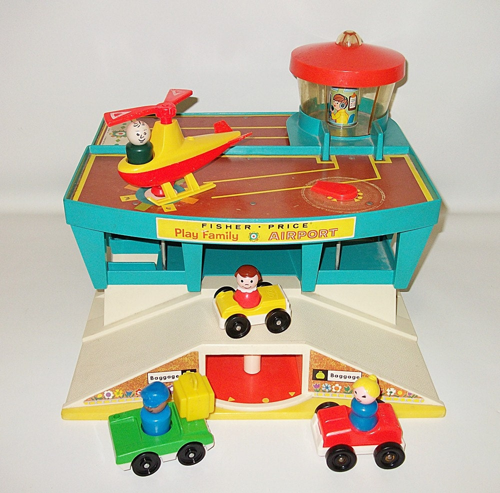 Classic Fisher Price Toys : Vintage fisher price play family airport playset toy