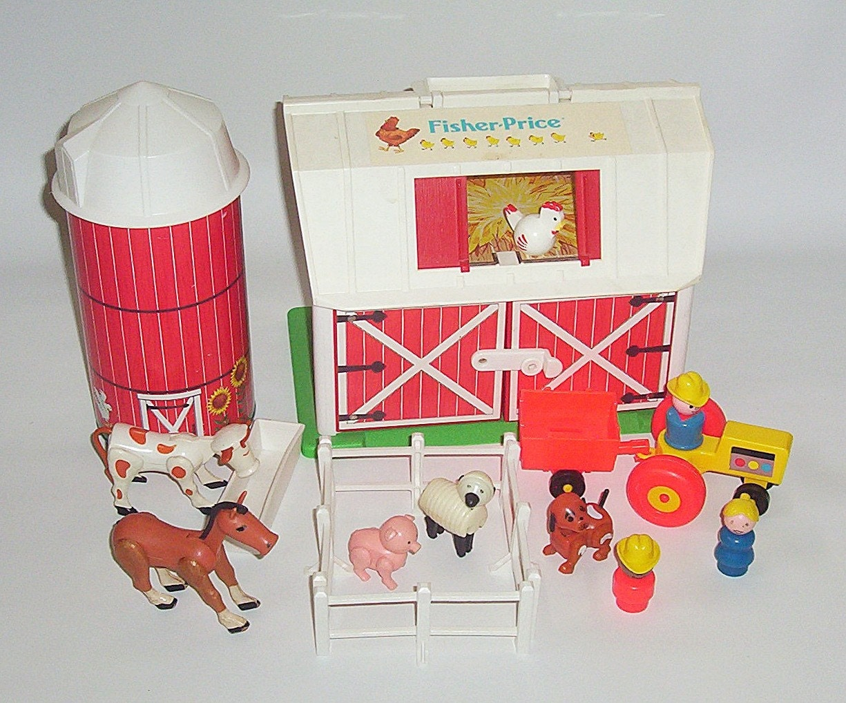 Vintage Fisher Price Little People Farm Barn Silo