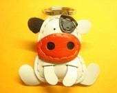 Rong the Cow Leather Keychain ( White )