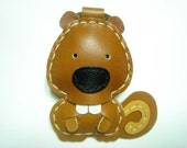Joe the Squirrel Leather Keychain ( Brown )