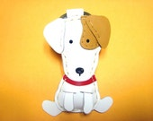 Leather Keychain - Tino the Jack Russell leather charm ( White )
