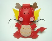Leather Keychain - Puff the Magic Dragon leather charm ( Red )