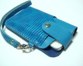 Leatherprince Handmade iPhone 4 leather case with strap ( Blue Lizard Print )