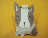 Rina the Dutch Rabbit Leather Keychain ( White )