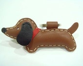 Leather Keychain - Jemma the Brown dachshund leather charm