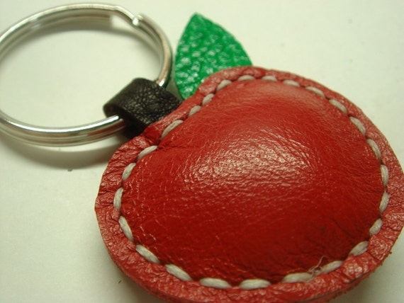 Lovely Apple Leather Keychain ( Red )