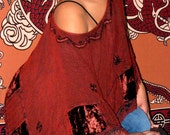 FINAL SALE RED Fringed Poncho LAST ONE FREE SIZE