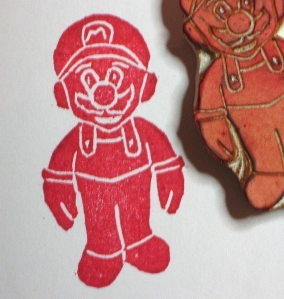 Mario - handcarved rubber stamp