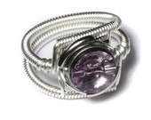 Cyberpunk Jewelry - RING - Light Amethyst Swarovski Crystal