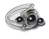 Cyberpunk Jewelry - Ring - Hematite - ORBIT - SIZE 10.5 ONLY