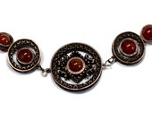 Steampunk Jewelry - Necklace - Red Dragon Veins Fire Agate