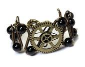 Steampunk Jewelry - Bracelet - Brass Gear and Black Onyx