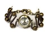 Steampunk Jewelry - Mixed metal tones -  Working watch bracelet