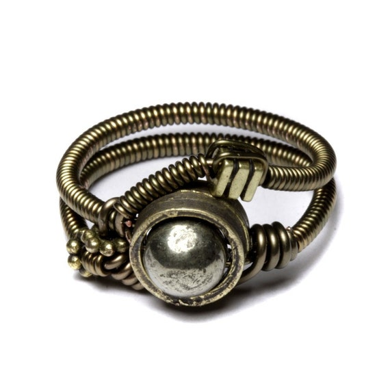 Steampunk Jewelry - RING - Gunmetal with PYRITE - RESERVED for scottdobbs ONLY