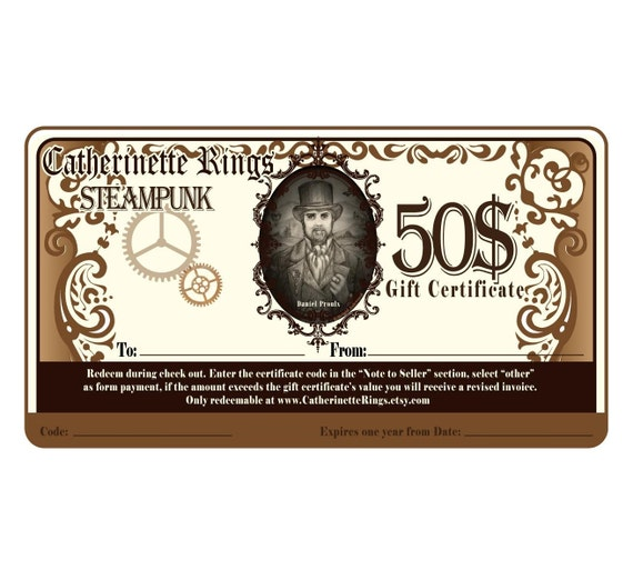 STEAMPUNK GIFT CERTIFICATE - Catherinette Rings - Ethereal STEAMPUNK Jewellery - 50 Dollars