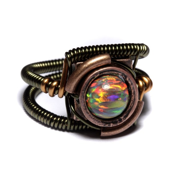 Steampunk Jewelry - Ring - Mexican Brown LAB created Opal - SIZE 9 ONLY