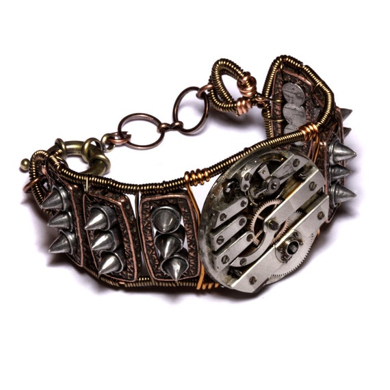 Steampunk Cuff Bracelet - Watch Movement and spikes
