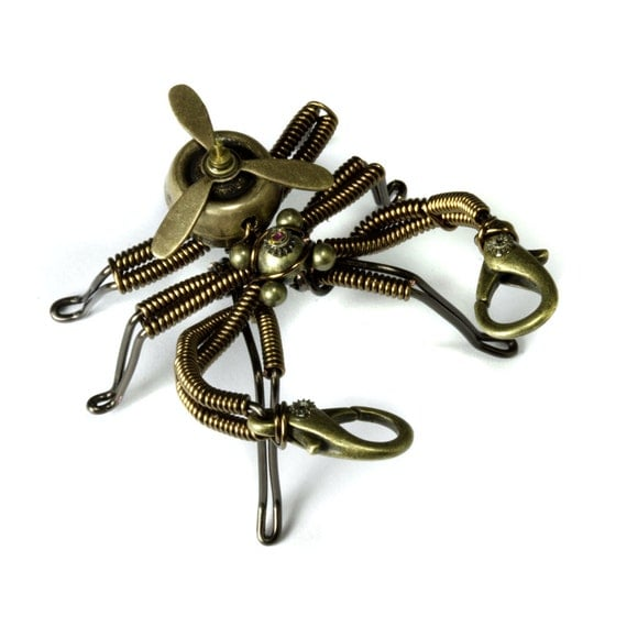 Steampunk Very small Flying Pseudo Scorpion Robot Sculpture