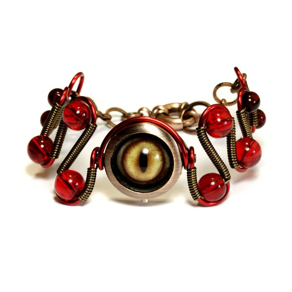 Steampunk Jewelry - Red Beholder Eye Bracelet