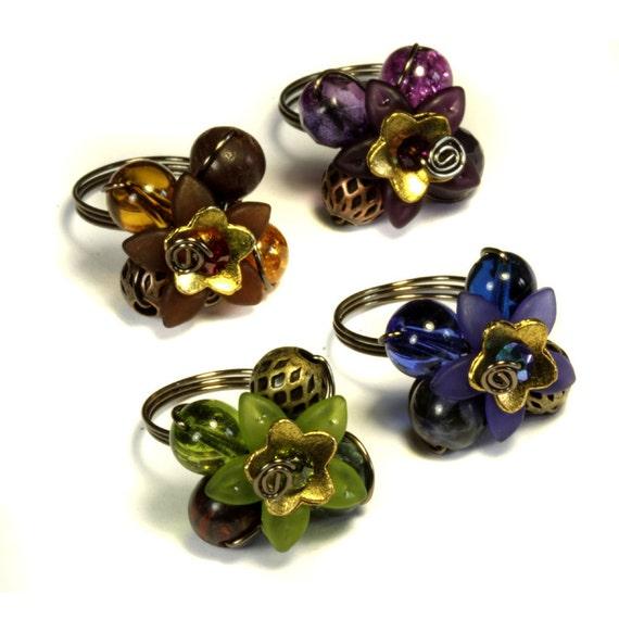 4 Flower rings bundle - Blue Brown Purple and Green