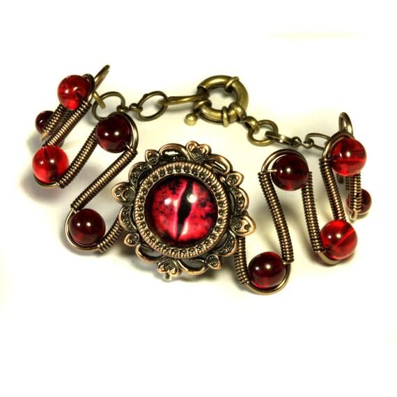 Steampunk Jewelry - Evil Red Dragon Eye Bracelet