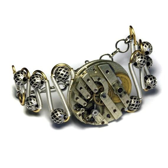 Steampunk  Bracelet - Watch Movement