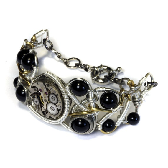 Steampunk Bracelet - Silver Watch Movement and black onyx - One of a Kind