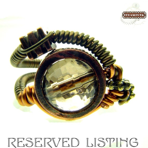 STEAMED - 5 - Artistic STEAMPUNK wire ring with SMOKY QUARTZ bead RESERVED for dndah1