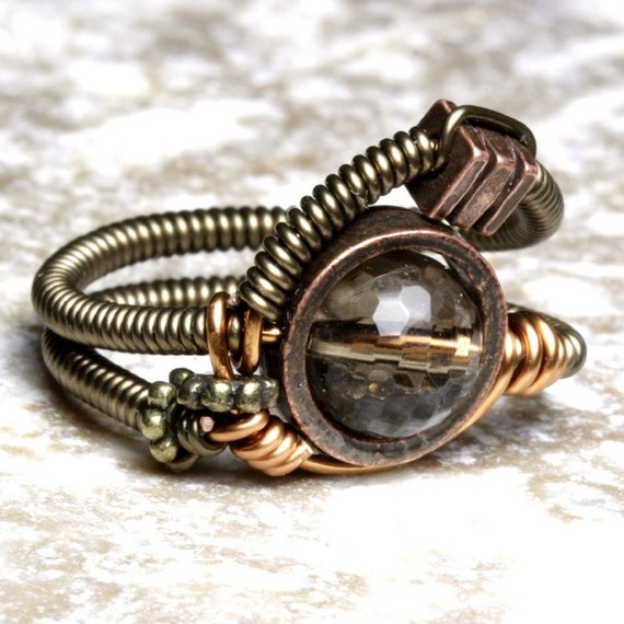 SMOKE STEAMED - 8 - Artistic STEAMPUNK wire ring with SMOKY QUARTZ bead