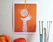 Yarn Love Digital Art Print - Orange