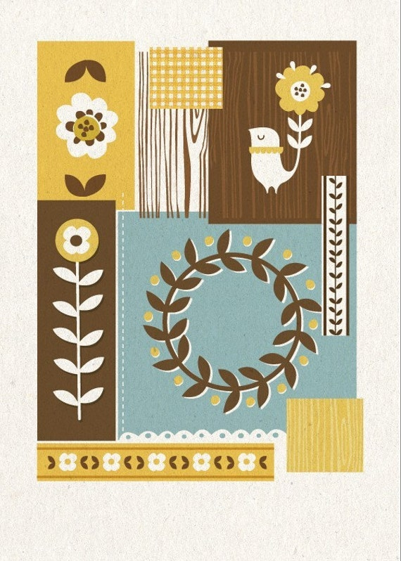 Folky Patchwork Print - Yellow and Brown