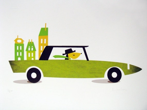 Norman Goes for a Drive - Digital Print - Green