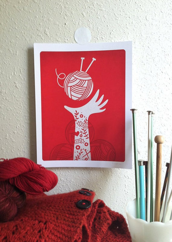 Yarn Love Digital Art Print - Red