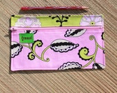 Pink Floral and Zebra print  Pencil Pouch / Bag with zipper