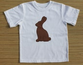 Boys Applique Chocolate Easter Bunny Tee Shirt.  Size 4T