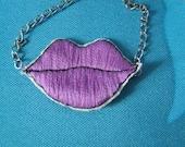 Lilac Pop Art Lips Necklace