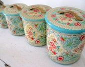 Vintage Jadeite and Rose Pink Shabby Tin Canister Set of 4