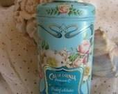Vintage Floral Perfumed Talcum Powder Tin Pink Roses Aqua Blue