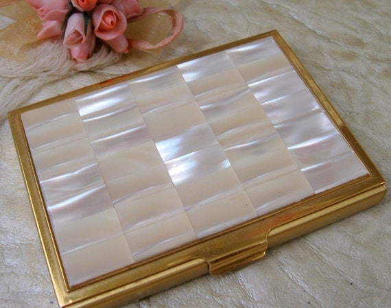 Vintage Mother of Pearl Trade Card Holder Compact