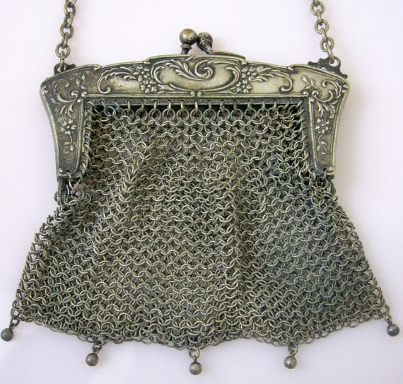 Antique German Silver Mesh Purse Evening Bag