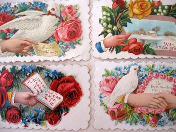 4 Antique Rose Calling Cards