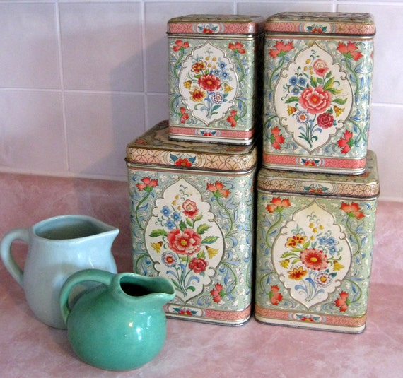 Vintage Canister Set with Rose and Jadeite Green