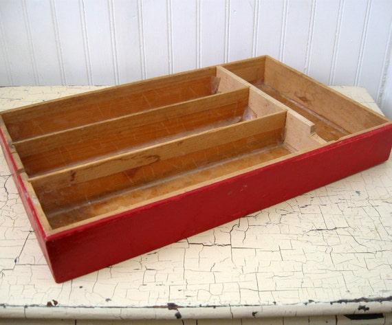 Weathered Cutlery Tray for Shadow Box, Flatware Caddy, or Desk Organizer