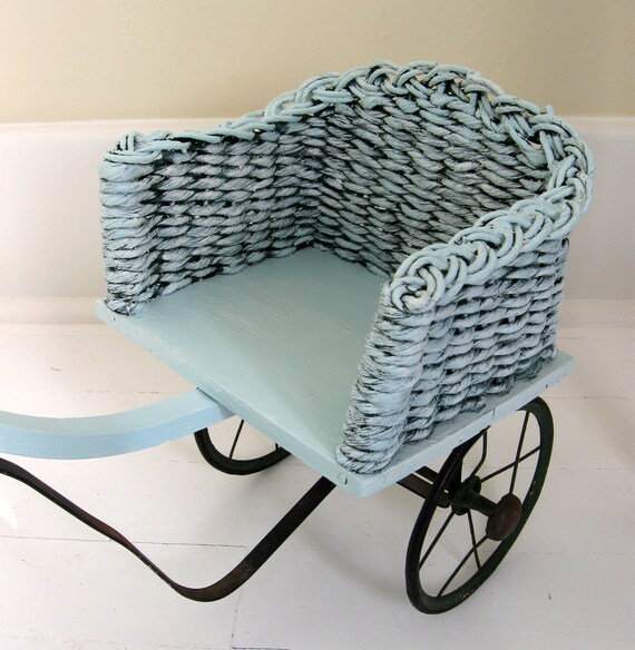 SALE Antique Wicker Doll Stroller Pull Along Cart Robin's Egg Blue