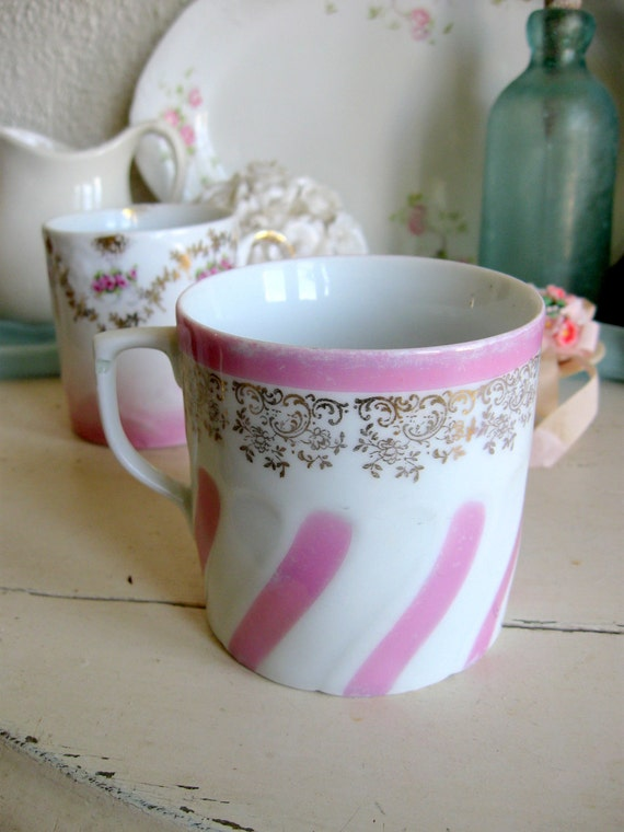 Germany German Porcelain Pink white Striped Cup