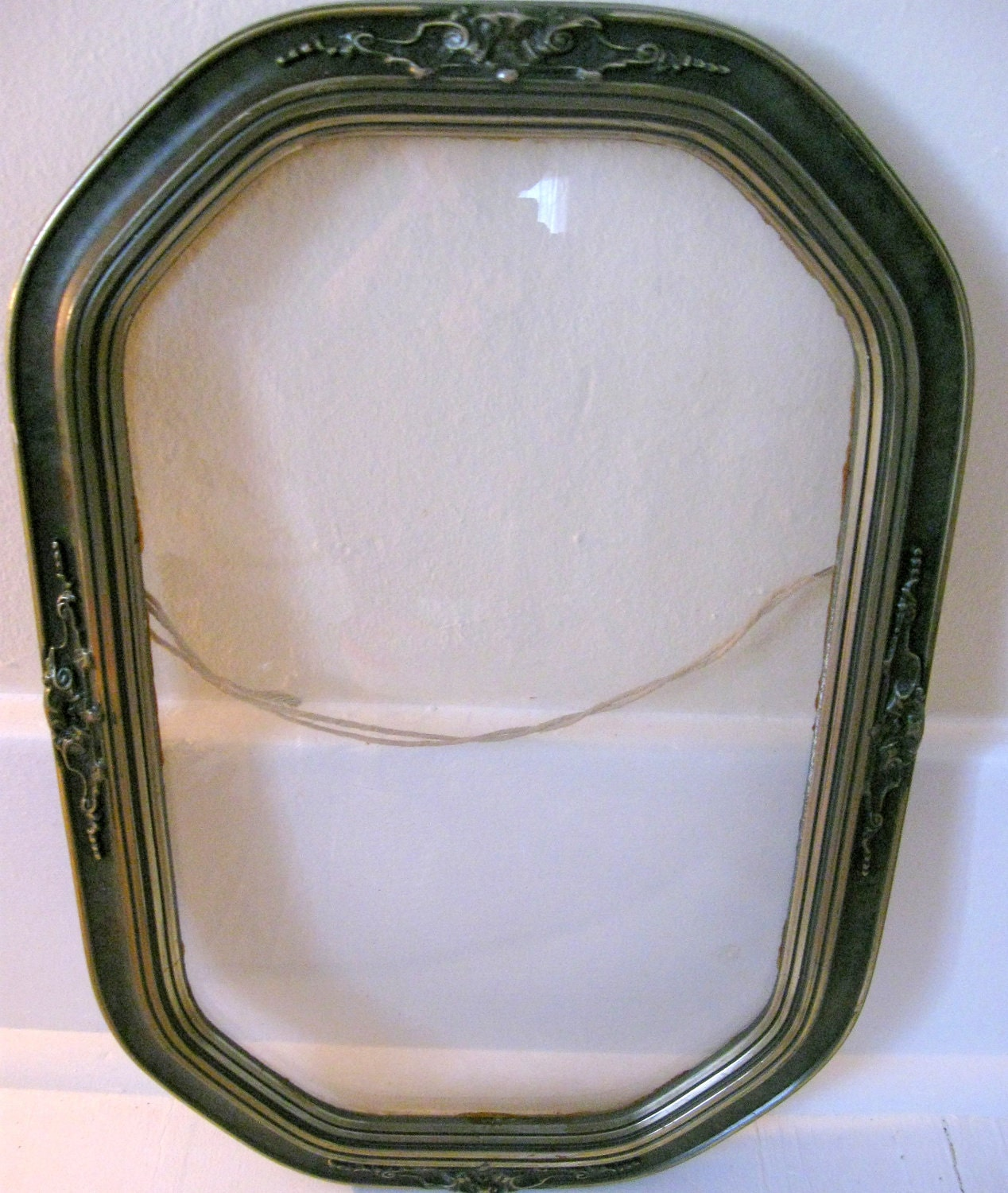 antique oval frame with convex glass for by somethingcharming